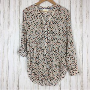 Anthropologie Maeve Calia Face Hat Pintuck Blouse